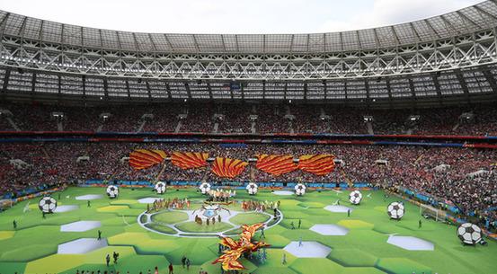 莫斯科当地时间14日晚,2018俄罗斯世界杯足球赛开幕式在莫斯科可以