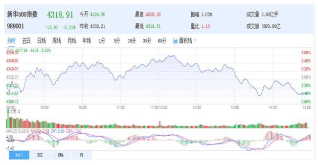 新华500指数收盘下跌0.31% 报4318.91点